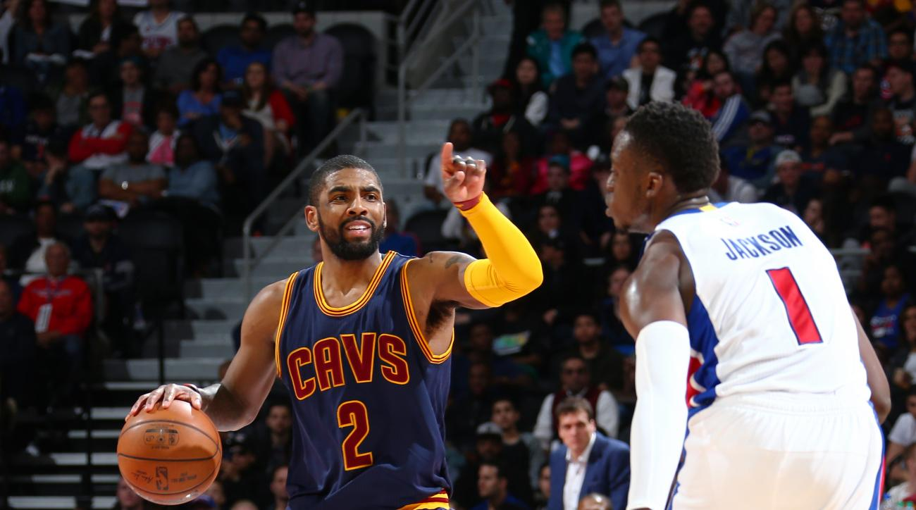 AUBURN HILLS, MI - APRIL 24:  Kyrie Irving #2 of the Cleveland Cavaliers handles the ball against Reggie Jackson #1 of the Detroit Pistons in Game Four of the Eastern Conference Quarterfinals during the 2016 NBA Playoffs on  April 24, 2016 at The Palace o