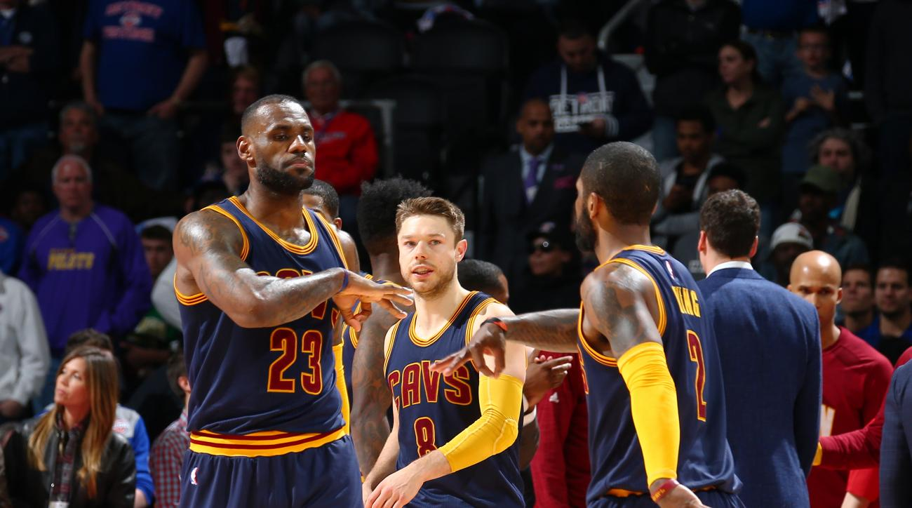 AUBURN HILLS, MI - APRIL 24:  LeBron James #23 of the Cleveland Cavaliers celebrates with Kyrie Irving #2 of the Cleveland Cavaliers against the Detroit Pistons in Game Four of the Eastern Conference Quarterfinals during the 2016 NBA Playoffs on  April 24