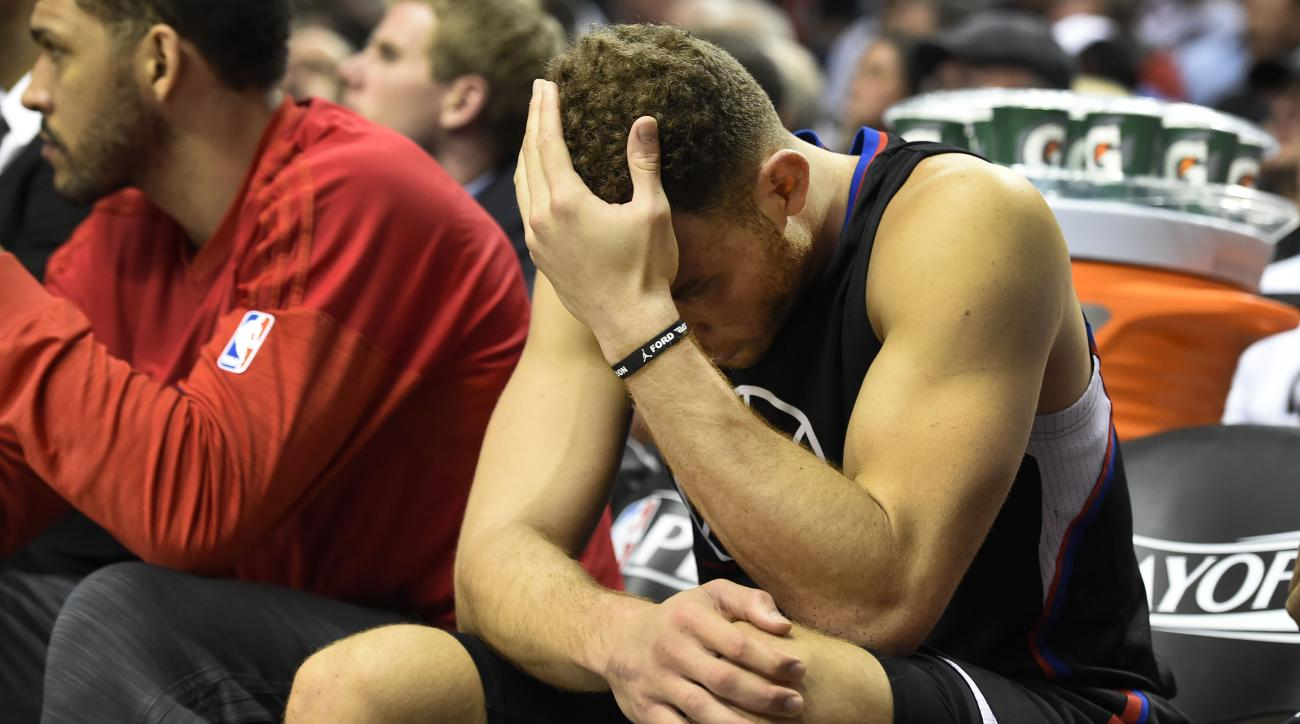 PORTLAND, OR - APRIL 25: Blake Griffin #32 of the Los Angeles Clippers sits on the bench as time winds down in the fourth quarter of Game Four of the Western Conference Quarterfinals against the Portland Trail Blazers during the 2016 NBA Playoffs at the M