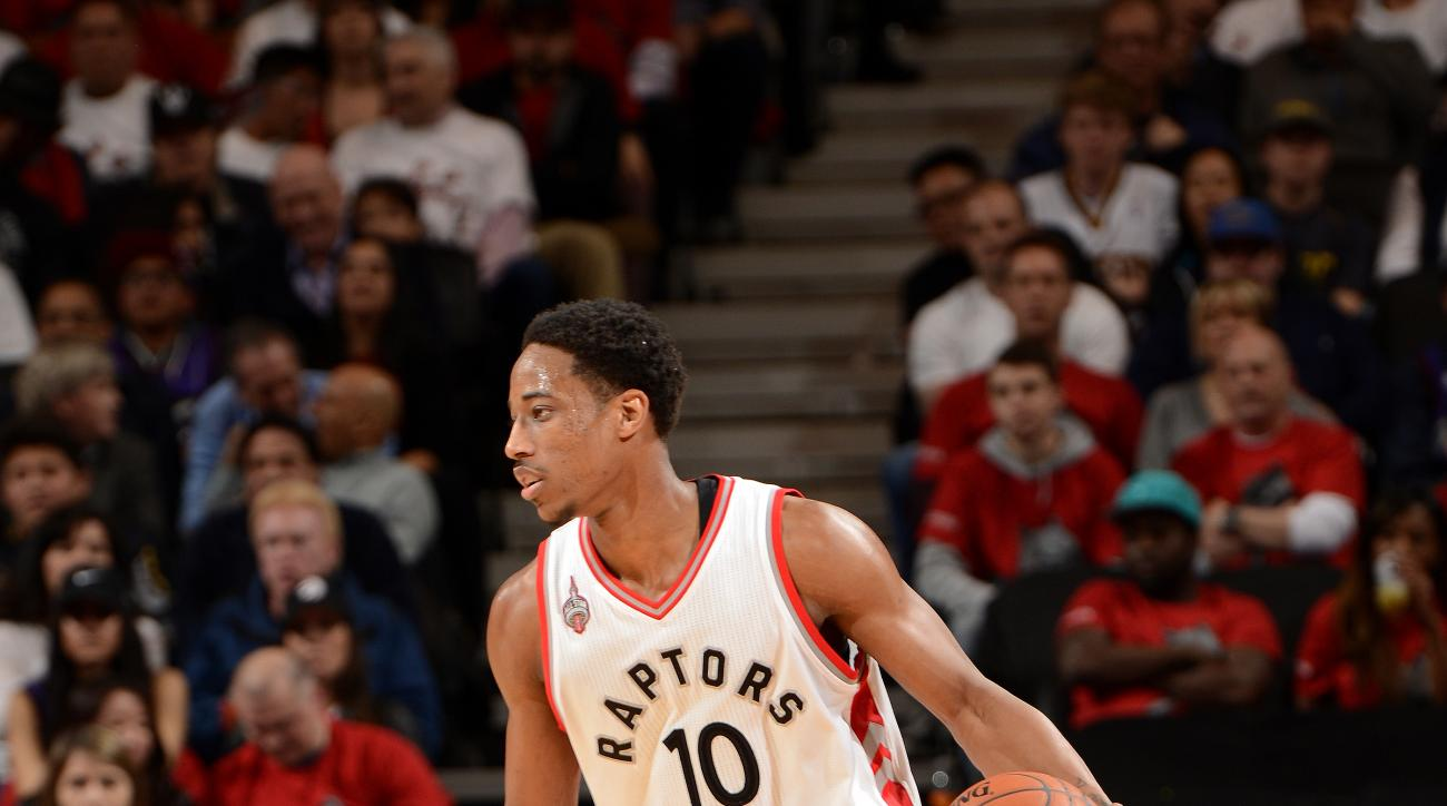 TORONTO, CANADA - APRIl 26: DeMar DeRozan #10 of the Toronto Raptors handles the ball during the game against the Indiana Pacers in Game Five of the Eastern Conference Quarterfinals during the 2016 NBA Playoffs on April 26, 2016 at the Air Canada Centre i