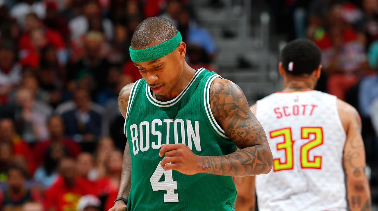 ATLANTA, GA - APRIL 26:  Isaiah Thomas #4 of the Boston Celtics leaves the court after injuring himself against the Atlanta Hawks in Game Five of the Eastern Conference Quarterfinals during the 2016 NBA Playoffs at Philips Arena on April 26, 2016 in Atlan
