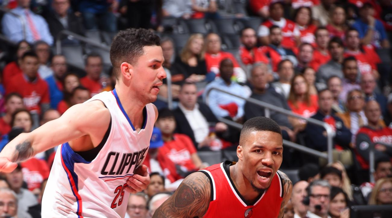 LOS ANGELES, CA - APRIL 27:  Damian Lillard #0 of the Portland Trail Blazers handles the ball against the Los Angeles Clippers in Game Five of the Western Conference Quarterfinals on April 27, 2016 at STAPLES Center in Los Angeles, California. (Photo by A