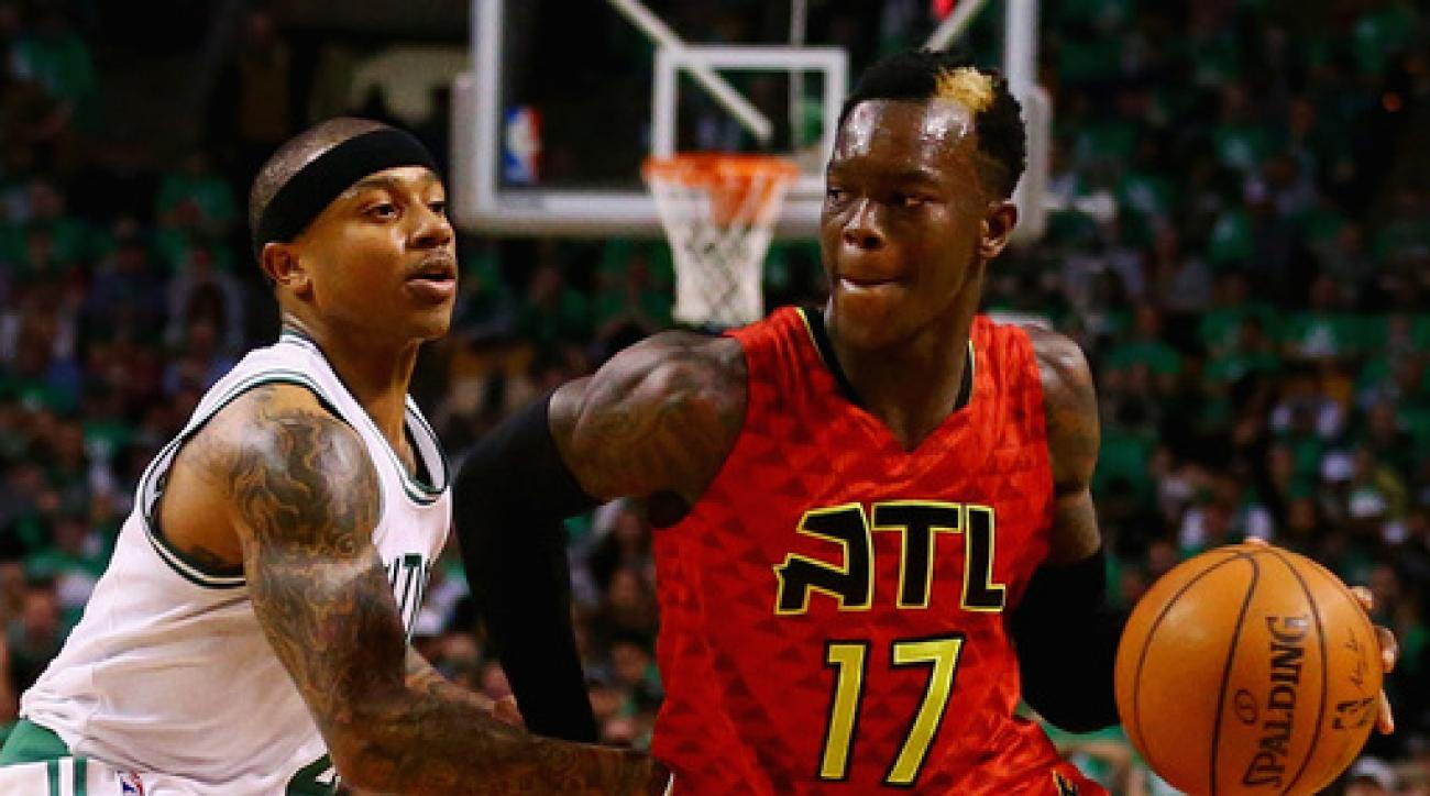 BOSTON, MA - APRIL 28:  Isaiah Thomas #4 of the Boston Celtics defends Dennis Schroder #17 of the Atlanta Hawks  during the fourth quarter of Game Six of the Eastern Conference Quarterfinals during the 2016 NBA Playoffs at TD Garden on April 28, 2016 in B