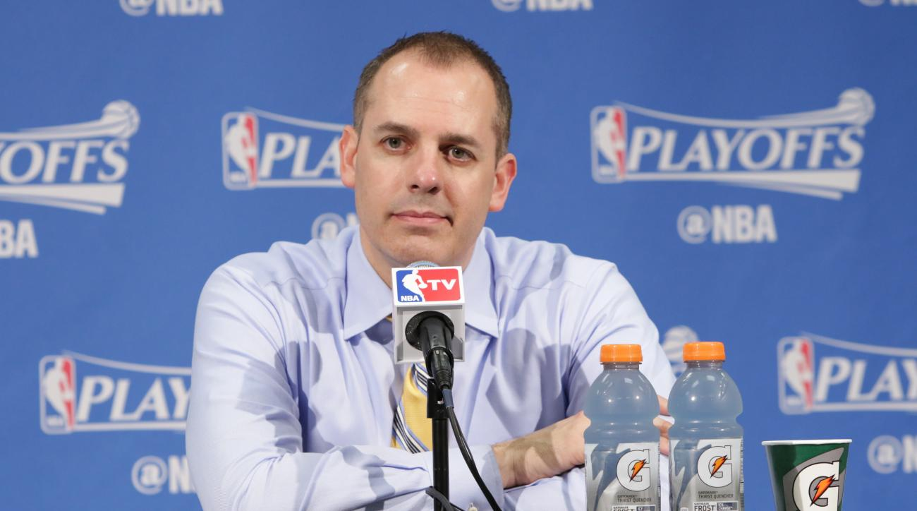 INDIANAPOLIS, IN - APRIL 29:  Head coach Frank Vogel of the Indiana Pacers speaks at a post game press conference after the game against the Toronto Raptors in Game Six of the Eastern Conference Quarterfinals during the 2016 NBA Playoffs on April 29, 2016