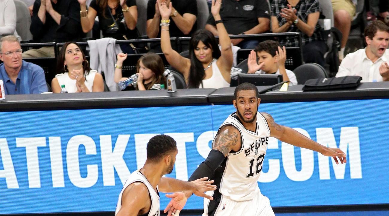 SAN ANTONIO, TX - APRIL 30: Tim Duncan #21 and LaMarcus Aldridge #12 of the San Antonio Spurs celebrate against the Oklahoma City Thunder in Game One of Western Conference Semifinals of the 2016 NBA Playoffs on April 30, 2016 at the AT&T Center in San Ant