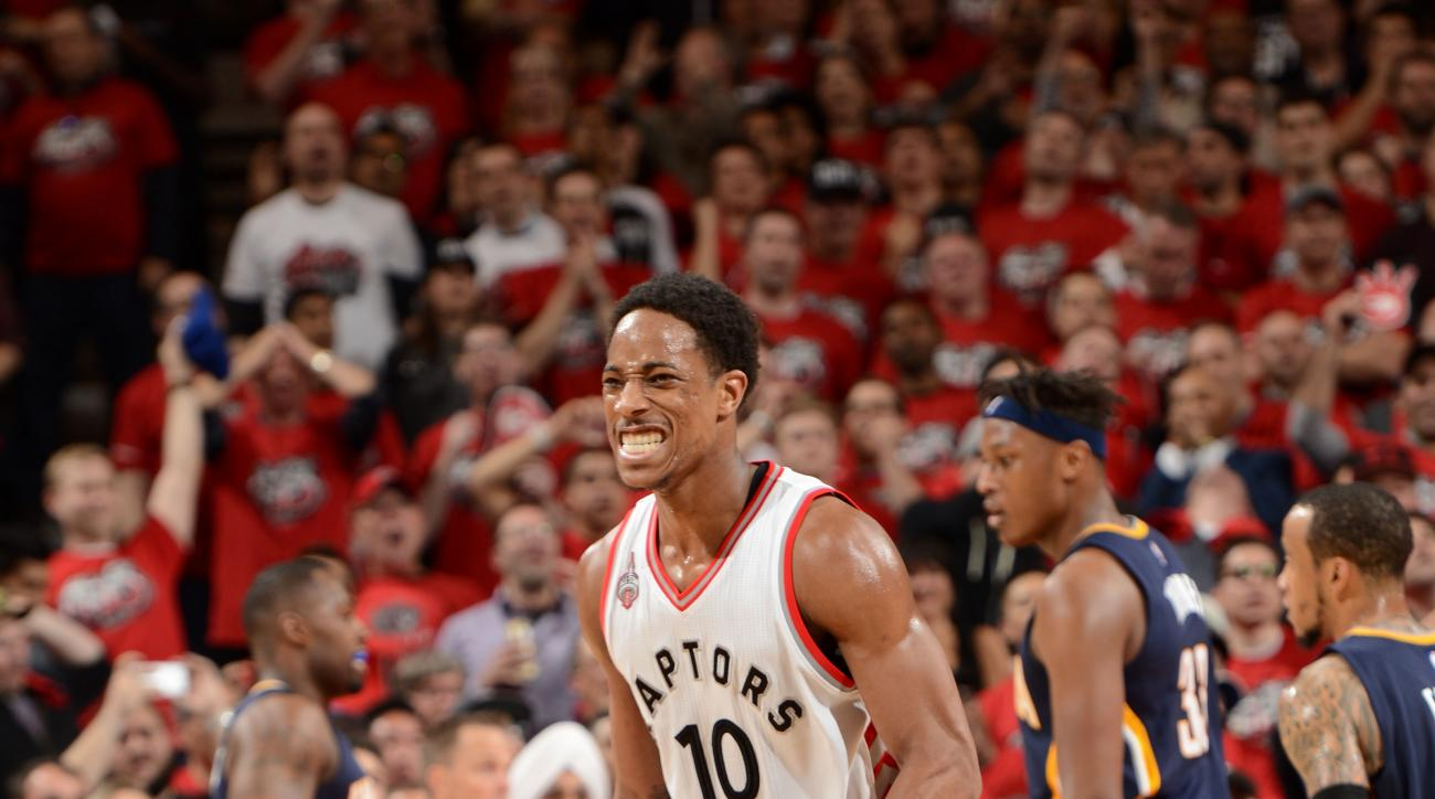 TORONTO, CANADA - MAY 1:  DeMar DeRozan #10 of the Toronto Raptors reacts against the Indiana Pacers in Game Seven of the Eastern Conference Quarterfinals during the 2016 NBA Playoffs on May 1, 2016 at the Air Canada Centre in Toronto, Ontario, Canada.  (