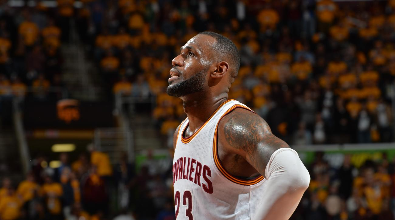 CLEVELAND,OH MAY 2 :  LeBron James #23 of the Cleveland Cavaliers looks on against the Atlanta Hawks during the Eastern Conference Semifinals Game One on May 2, 2016 at The Quicken Loans Arena in Cleveland, Ohio. (Photo by Jesse D. Garrabrant/NBAE via Get