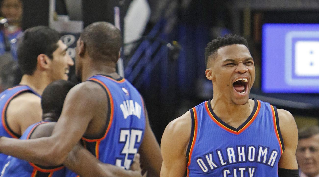 SAN ANTONIO,TX - MAY 2: Russell Westbrook #0 of the Oklahoma City Thunder screams after his team defeated the San Antonio Spurs during game Two of the Western Conference Semifinals for the 2016 NBA Playoffs at AT&T Center on May 2, 2016 in San Antonio, Te