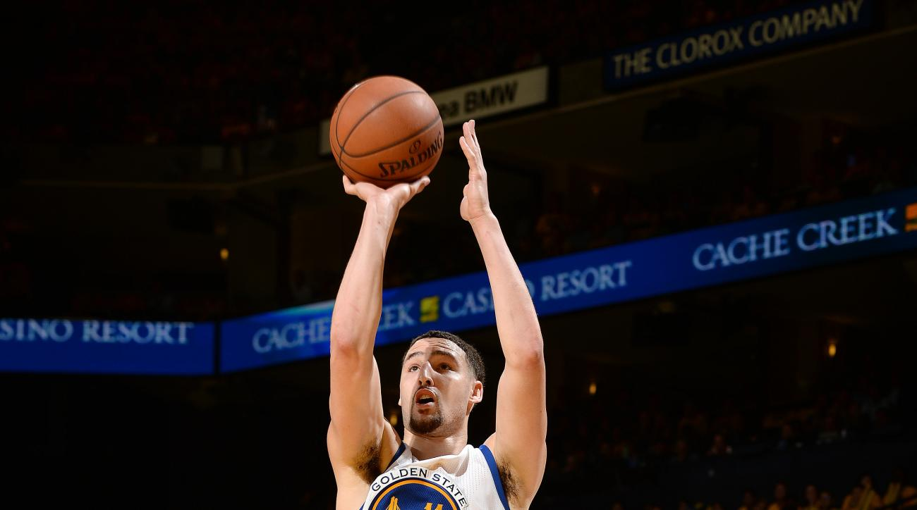 OAKLAND, CA - MAY 3: Klay Thompson #11 of the Golden State Warriors shoots the ball during the game against the Portland Trail Blazers in Game Two of the Western Conference Semifinals during the 2016 NBA Playoffs on May 3, 2016 at ORACLE Arena in Oakland,