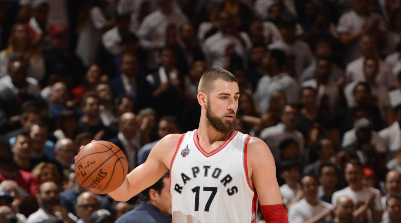 TORONTO, CANADA - MAY 5: Jonas Valanciunas #17 of the Toronto Raptors handles the ball against the Miami Heat in Game Two of the Eastern Conference Semifinals on May 5, 2016 at the Air Canada Centre in Toronto, Ontario, Canada.  (Photo by Ron Turenne/NBAE