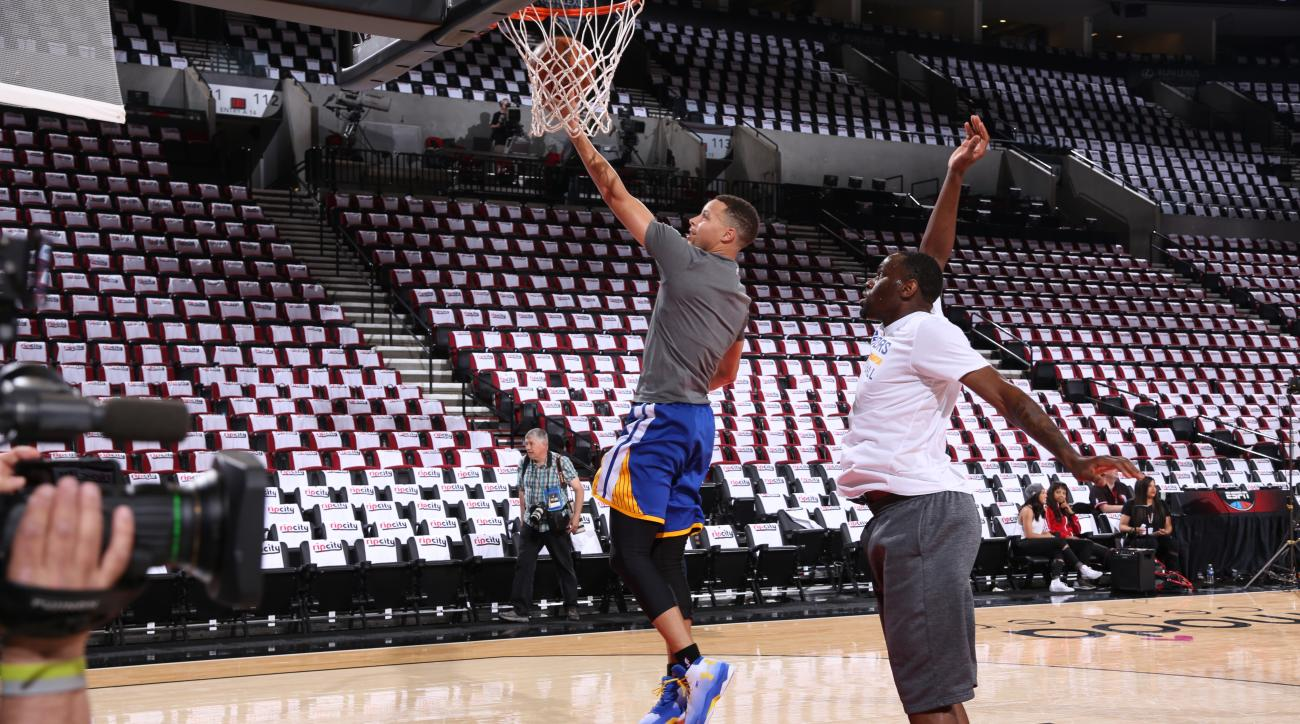 PORTLAND, OR - MAY 7:  Stephen Curry #30 of the Golden State Warriors warms up prior to Game Three of the Western Conference Semifinals against the Portland Trail Blazers during the 2016 NBA Playoffs on May 7, 2016 at the Moda Center in Portland, Oregon.