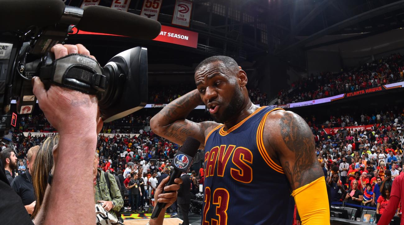 ATLANTA,GA - MAY 8 :  LeBron James #23 of the Cleveland Cavaliers is interviewed after the win against the Atlanta Hawks during the Eastern Conference Semifinals Game Four on May 8, 2016 at The Philips Arena in Atlanta Georgia (Photo by Jesse D. Garrabran