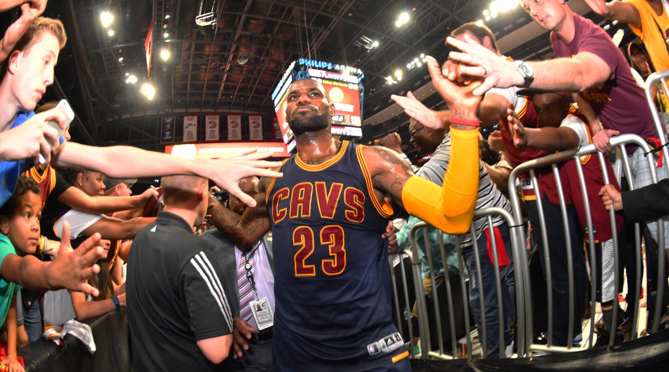 ATLANTA,GA - MAY 8 :  LeBron James #23 of the Cleveland Cavaliers walks off the court after the win against the Atlanta Hawks during the Eastern Conference Semifinals Game Four on May 8, 2016 at The Philips Arena in Atlanta Georgia (Photo by Jesse D. Garr
