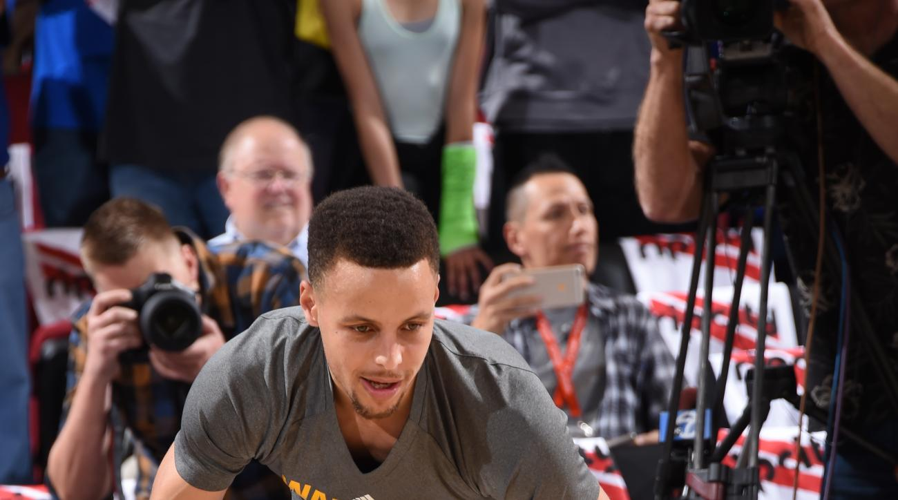 PORTLAND, OR - MAY 9:  Stephen Curry #30 of the Golden State Warriors warms up before Game Four of the Western Conference Semifinals against the Portland Trail Blazers during the 2016 NBA Playoffs on May 9, 2016 at the Moda Center in Portland, Oregon. (Ph