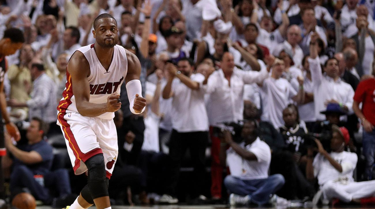 MIAMI, FL - MAY 09:  Dwyane Wade #3 of the Miami Heat celebrates winning Game 4 of the Eastern Conference Semifinals of the 2016 NBA Playoffs against the Toronto Raptors at American Airlines Arena on May 9, 2016 in Miami, Florida. (Photo by Mike Ehrmann/G