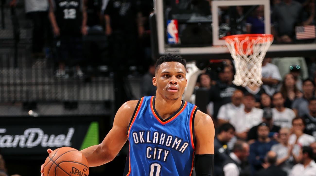 SAN ANTONIO, TX - MAY 10: Russell Westbrook #0 of the Oklahoma City Thunder handles the ball during the game against the San Antonio Spurs in Game Five of the Western Conference Semifinals during the 2016 NBA Playoffs on May 10, 2016 at the AT&T Center in