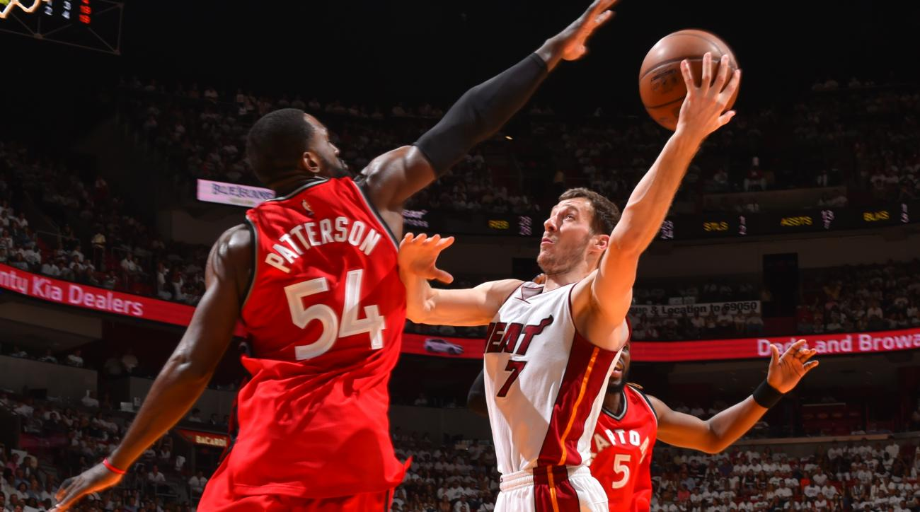 MIAMI,FL - MAY 13 :  Goran Dragic #7 of the Miami Heat goes up for the layup against the Toronto Raptors during the Eastern Conference playoffs Semifinals Game Six on May 13, 2016 at the American Airlines Arena in Miami, Florida. (Photo by Jesse D. Garrab