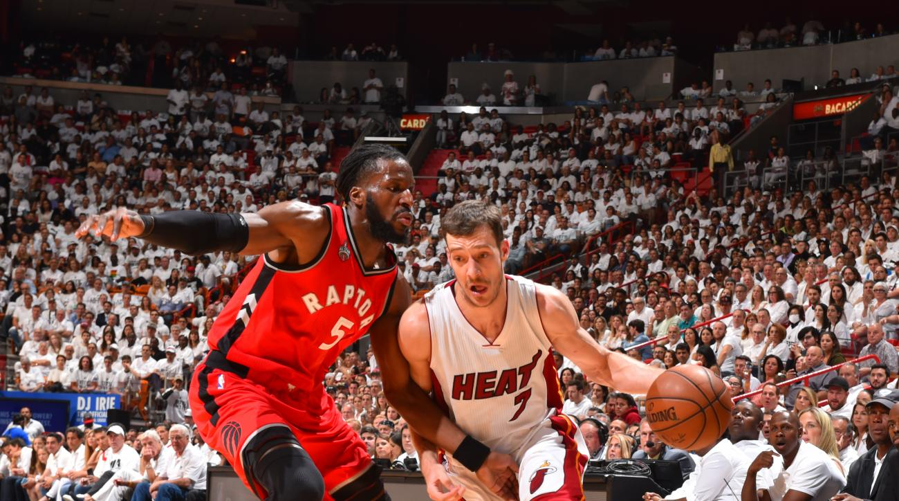 MIAMI,FL - MAY 13 :  Goran Dragic #7 of the Miami Heat drives to the basket against the Toronto Raptors during the Eastern Conference playoffs Semifinals Game Six on May 13, 2016 at the American Airlines Arena in Miami, Florida. (Photo by Jesse D. Garrabr