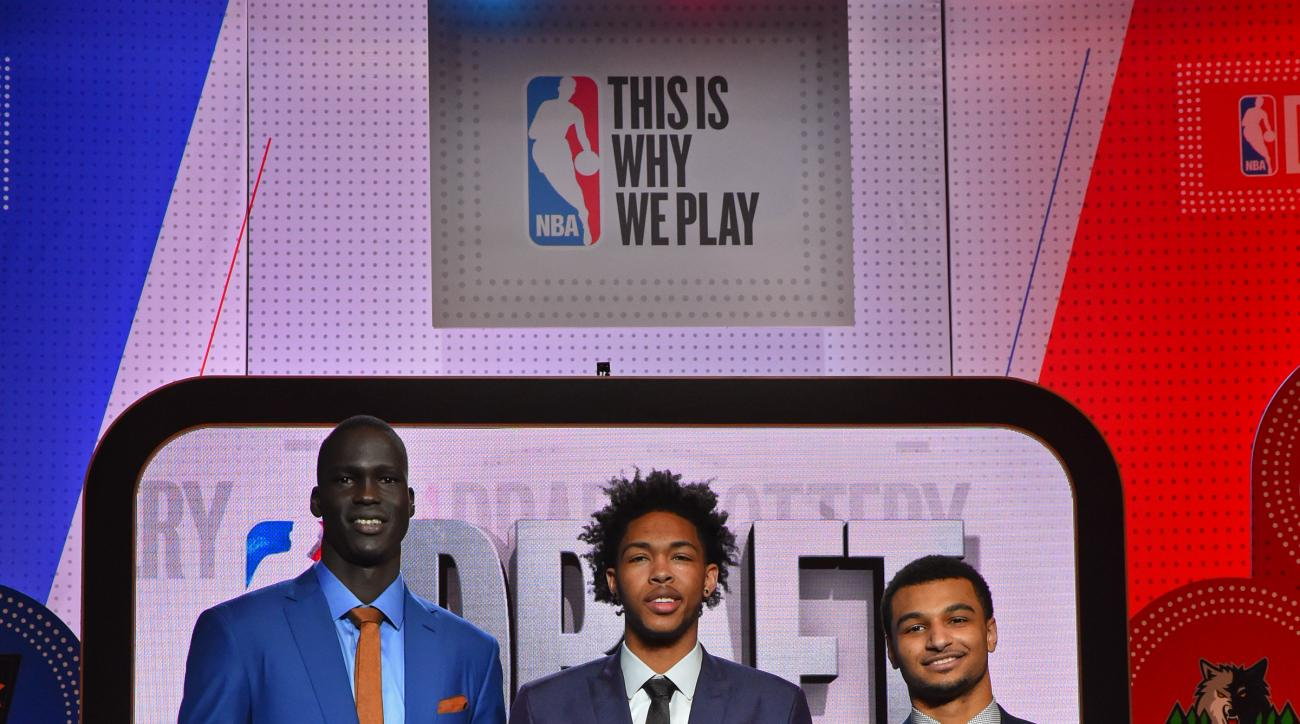 NEW YORK, NEW YORK - MAY 17:  NBA Draft Prospects, Thon Maker, Brandon Ingram and Jamal Murray pose for a photo during the 2016 NBA Draft Lottery at the New York Hilton in New York, New York. (Photo by Jesse D. Garrabrant/NBAE via Getty Images)