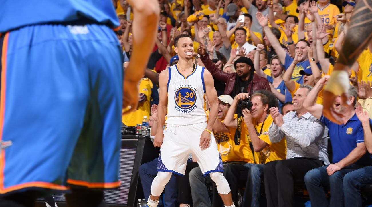 OAKLAND, CA - MAY 18:  Stephen Curry #30 of the Golden State Warriors celebrates during the game against the Oklahoma City Thunder in Game Two of the Western Conference Finals during the 2016 NBA Playoffs on May 18, 2016 at ORACLE Arena in Oakland, Califo