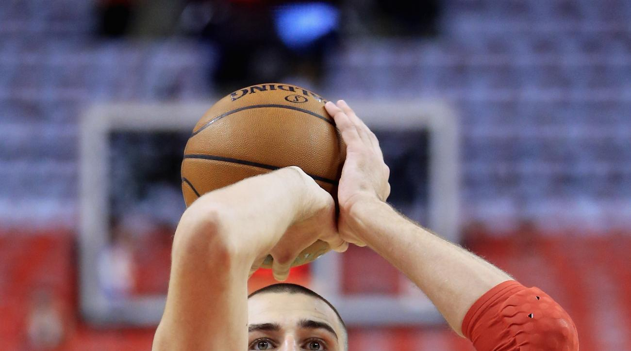 TORONTO, ON - MAY 21:  Jonas Valanciunas #17 of the Toronto Raptors shoots the ball prior to game three of the Eastern Conference Finals against the Cleveland Cavaliers during the 2016 NBA Playoffs at Air Canada Centre on May 21, 2016 in Toronto, Canada.