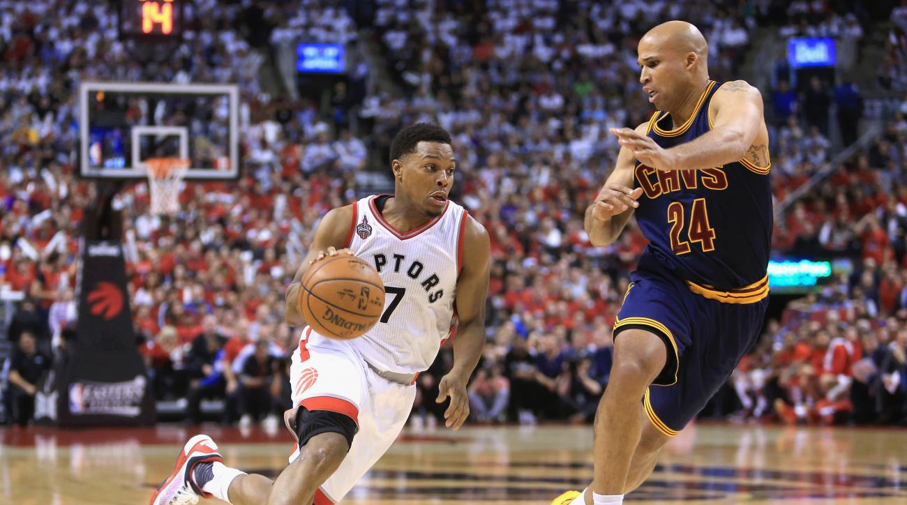 TORONTO, ON - MAY 21:  Kyle Lowry #7 of the Toronto Raptors dribbles against Richard Jefferson #24 of the Cleveland Cavaliers during the second half in game three of the Eastern Conference Finals during the 2016 NBA Playoffs at Air Canada Centre on May 21