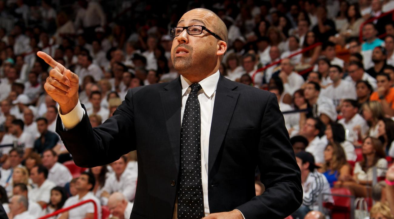 MIAMI, FL - MAY 22: David Fizdale, assistant coach of the Miami Heat, directs his team against the Indiana Pacers in Game One of the Eastern Conference Finals during the 2013 NBA Playoffs on May 22, 2013 at American Airlines Arena in Miami, Florida. (Phot