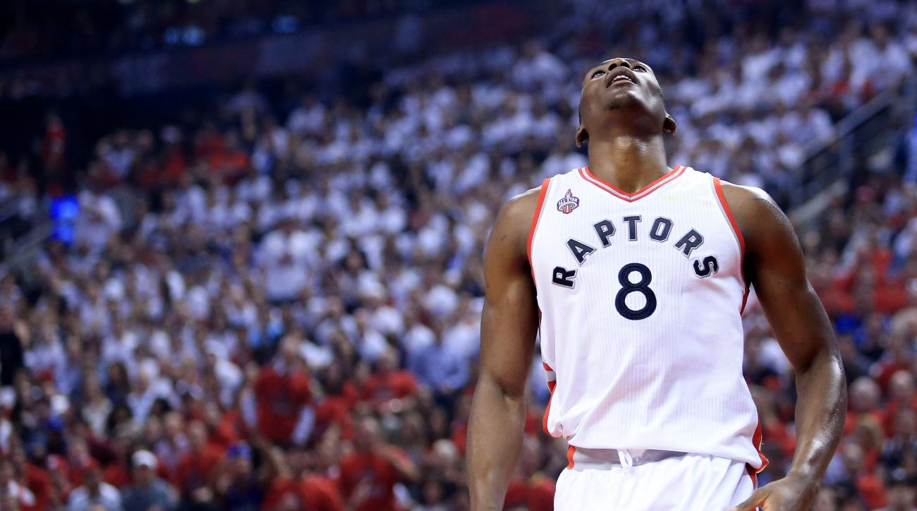 TORONTO, ON - MAY 27:  Bismack Biyombo #8 of the Toronto Raptors reacts after being called for a foul against the Cleveland Cavaliers in the first quarter in game six of the Eastern Conference Finals during the 2016 NBA Playoffs at Air Canada Centre on Ma