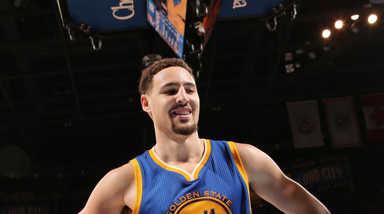 OKLAHOMA CITY, OK- MAY 28:  Klay Thompson #11 of the Golden State Warriors looks on during the game against the Oklahoma City Thunder in Game Six of the Western Conference Finals during the 2016 NBA Playoffs on May 28, 2016 at Chesapeake Energy Arena in O