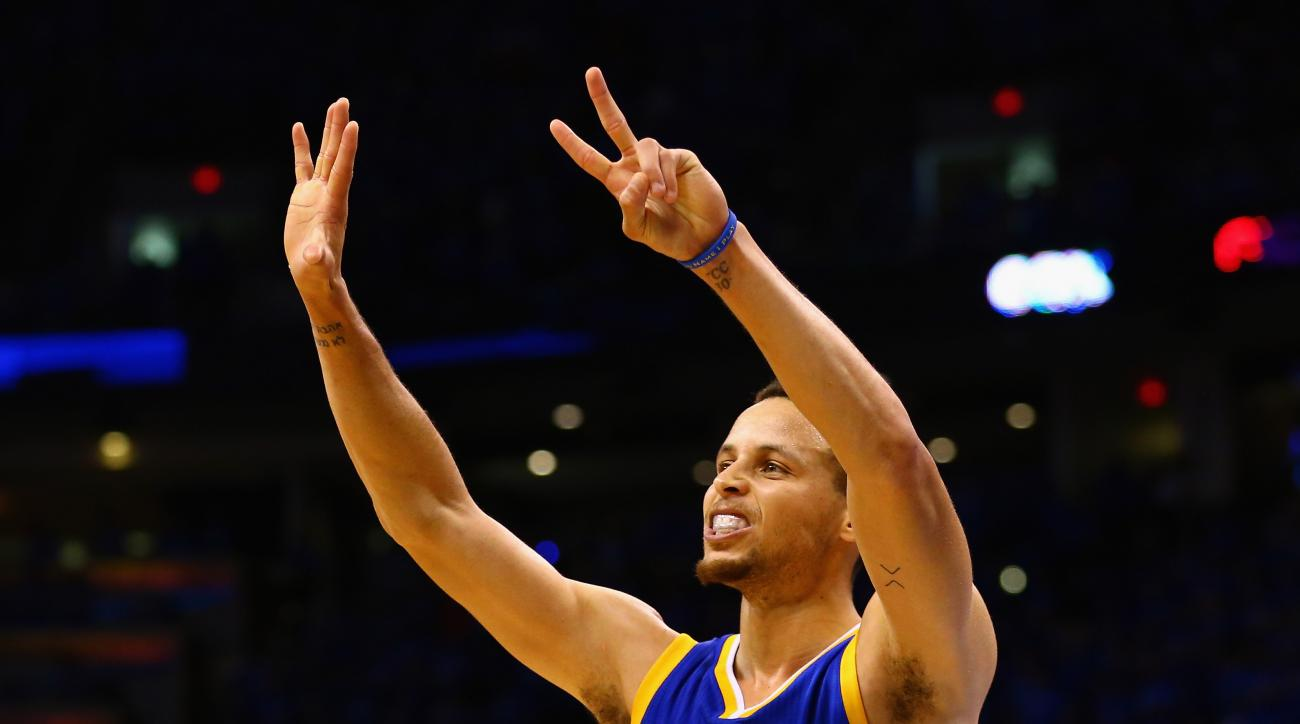 OKLAHOMA CITY, OK - MAY 28:  Stephen Curry #30 of the Golden State Warriors gestures during the second half against the Oklahoma City Thunder in game six of the Western Conference Finals during the 2016 NBA Playoffs at Chesapeake Energy Arena on May 28, 2