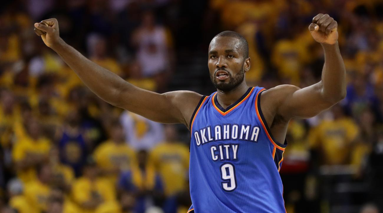 OAKLAND, CA - MAY 30:  Serge Ibaka #9 of the Oklahoma City Thunder reacts after a play in Game Seven of the Western Conference Finals against the Golden State Warriors during the 2016 NBA Playoffs at ORACLE Arena on May 30, 2016 in Oakland, California. (P