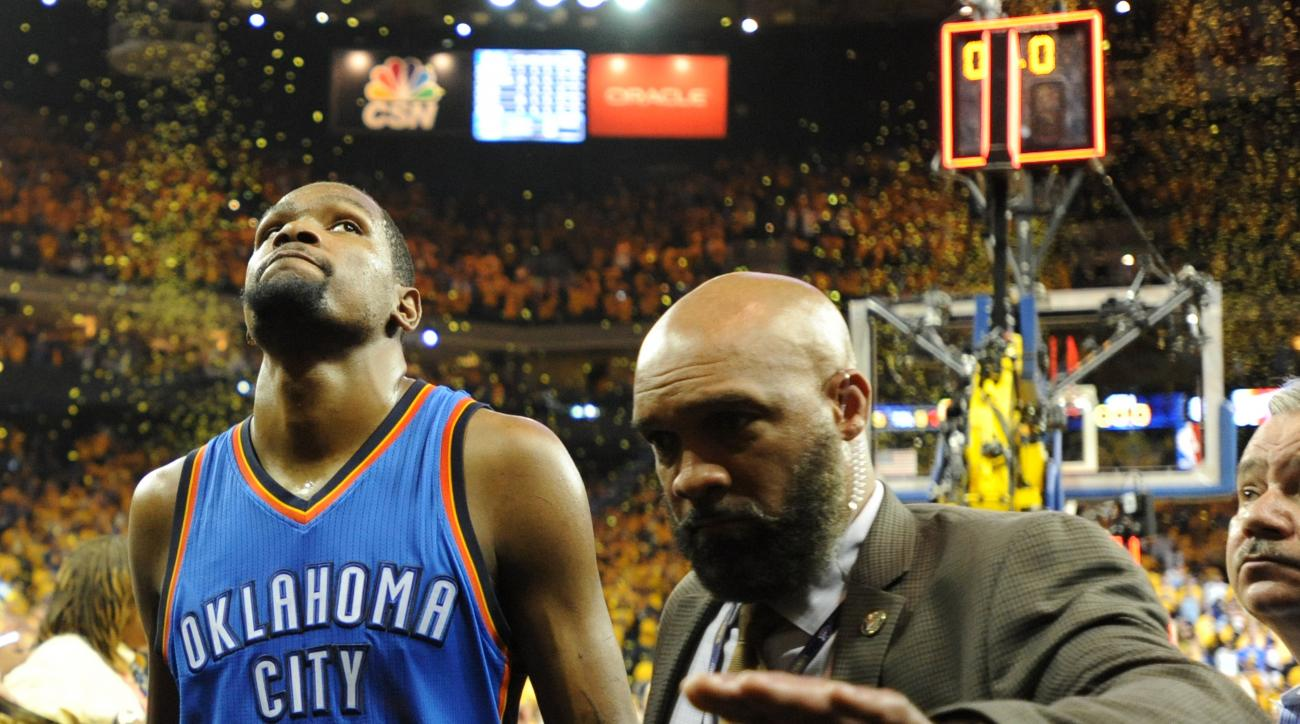 OAKLAND, CA - MAY 30:  Kevin Durant #35 of the Oklahoma City Thunder walks off the court after being defeated 96-88 by the Golden State Warriors in Game Seven of the Western Conference Finals during the 2016 NBA Playoffs at ORACLE Arena on May 30, 2016 in