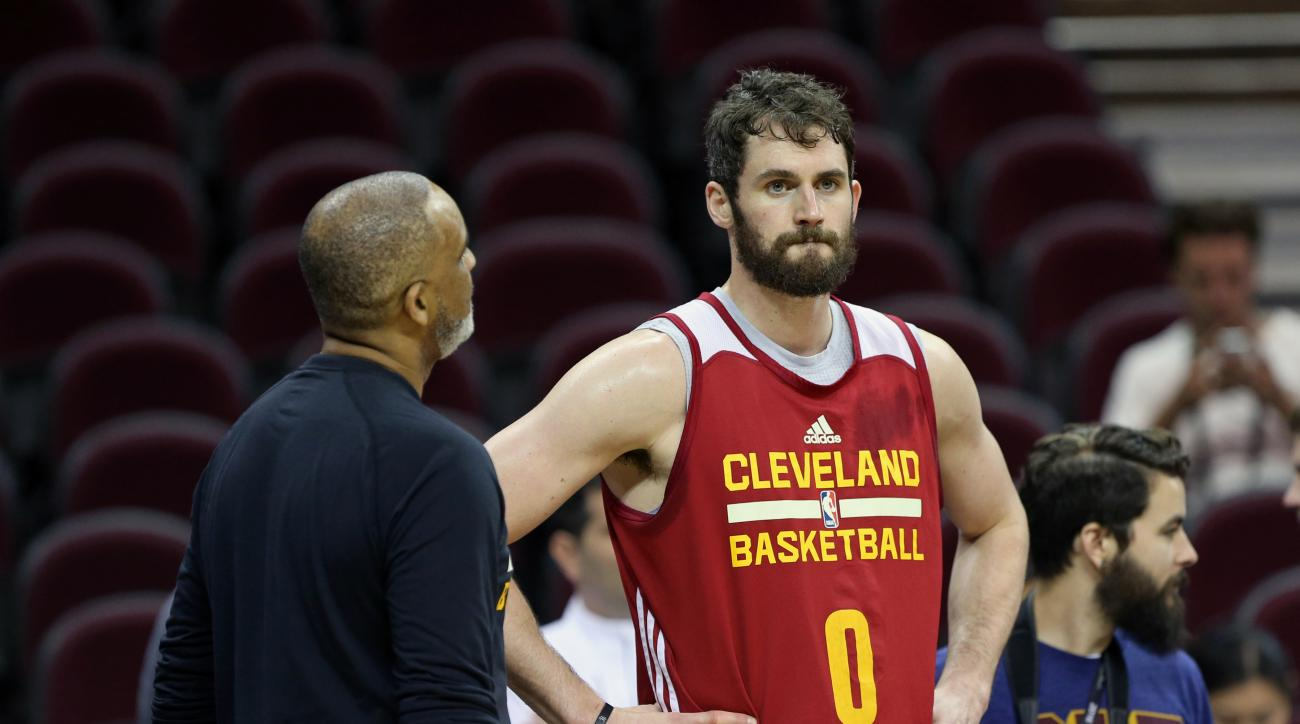 CLEVELAND, OH - JUNE 9 :  Kevin Love #0 of the Cleveland Cavaliers during practice and media availability as part of the 2016 NBA Finals on June 9, 2016 at Quicken Loans Arena in Cleveland, Ohio. (Photo by Joe Murphy/NBAE via Getty Images)