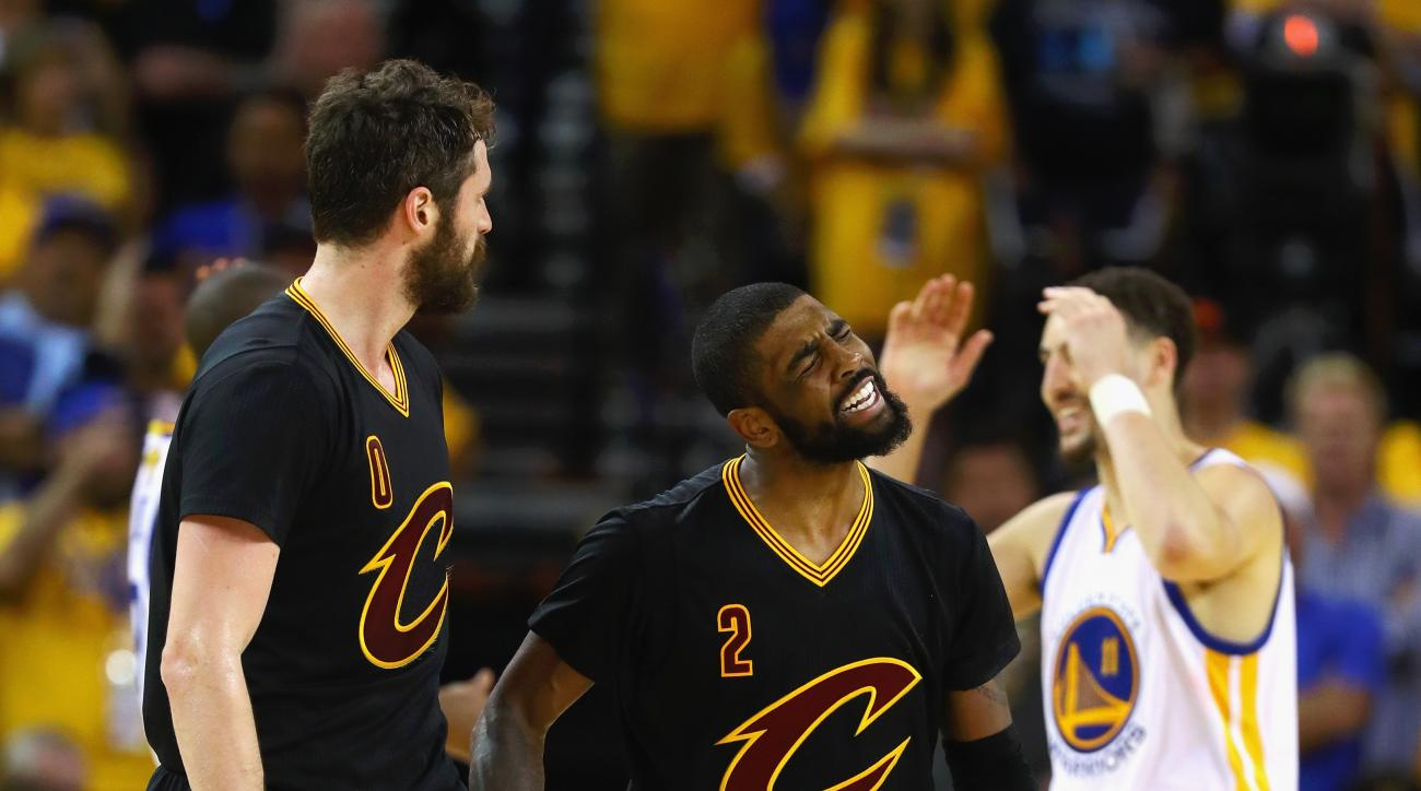 OAKLAND, CA - JUNE 13:  Kyrie Irving #2 of the Cleveland Cavaliers reacts during the second half against the Golden State Warriors in Game 5 of the 2016 NBA Finals at ORACLE Arena on June 13, 2016 in Oakland, California. (Photo by Ezra Shaw/Getty Images)