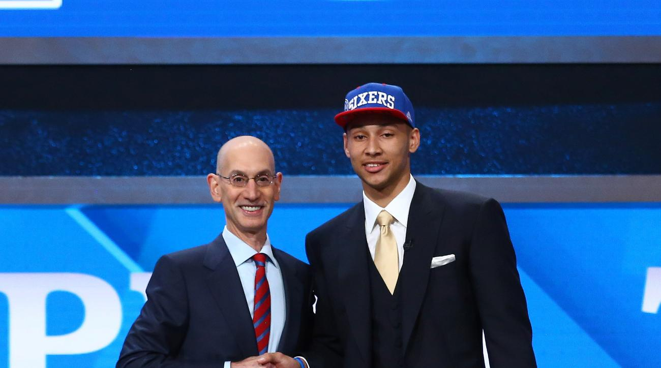 BROOKLYN, NY - JUNE 23: Ben Simmons shakes hands with NBA Commissioner Adam Silver after being selected number one overall by the Philadelphia 76ers during the 2016 NBA Draft on June 23, 2015 at Barclays Center in Brooklyn, New York. (Photo by Nathaniel S