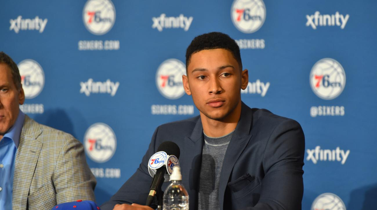 PHILADELPHIA, PA - JUNE 24:  Ben Simmons attends a press conference after being selected by the Philadelphia 76ers in the 2016 NBA Draft on June 24, 2016 in Philadelphia, PA. (Photo by Jesse D. Garrabrant/NBAE via Getty Images)