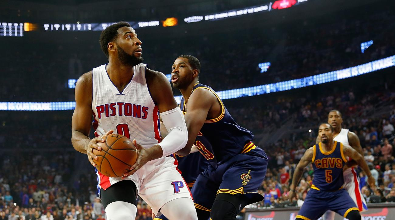 AUBURN HILLS, MI - APRIL 24: Andre Drummond #0 of the Detroit Pistons tries to make a move around Tristan Thompson #13 of the Cleveland Cavaliers in the first quarter of game four of the NBA Eastern Conference quarterfinals during the 2016 NBA Playoffs at