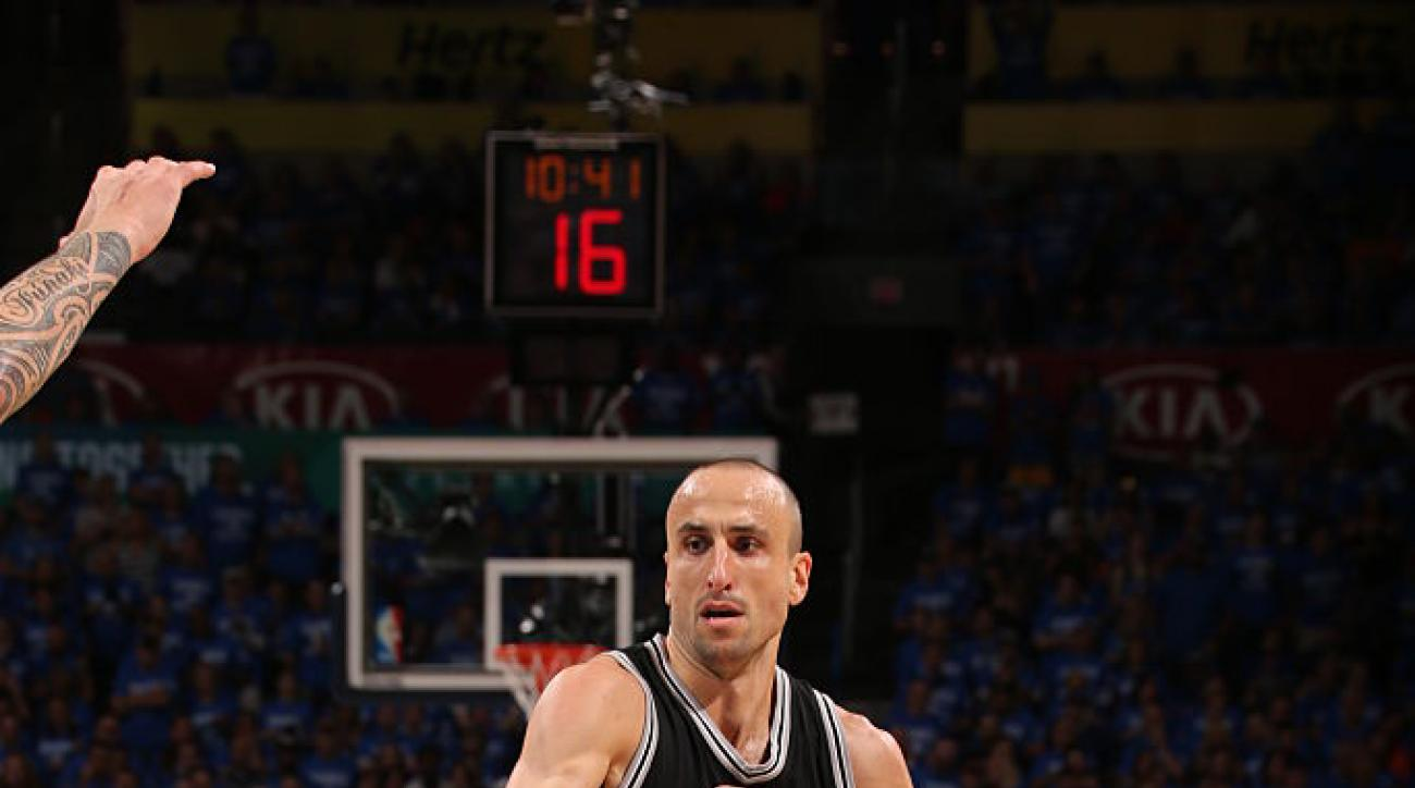 OKLAHOMA CITY, OK - MAY 12: Manu Ginobili #20 of the San Antonio Spurs handles the ball against the Oklahoma City Thunder in Game Six of Western Conference Quarterfinals of the 2016 NBA Playoffs on May 12, 2016 Chesapeake Energy Arena in Oklahoma City, Ok