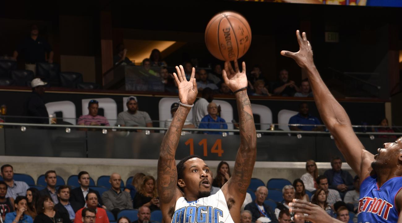 ORLANDO, FL - APRIL 6:  Brandon Jennings #55 of the Orlando Magic shoots the ball against the Detroit Pistons on April 6, 2016 at Amway Center in Orlando, Florida. (Photo by Fernando Medina/NBAE via Getty Images)