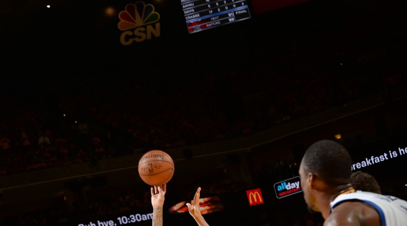 OAKLAND, CA - MAY 11:  Allen Crabbe #23 of the Portland Trail Blazers shoots a free throw against the Golden State Warriors in Game Five of the Western Conference Semifinals of the 2016 NBA Playoffs on May 11, 2016 at ORACLE Arena in Oakland, California.