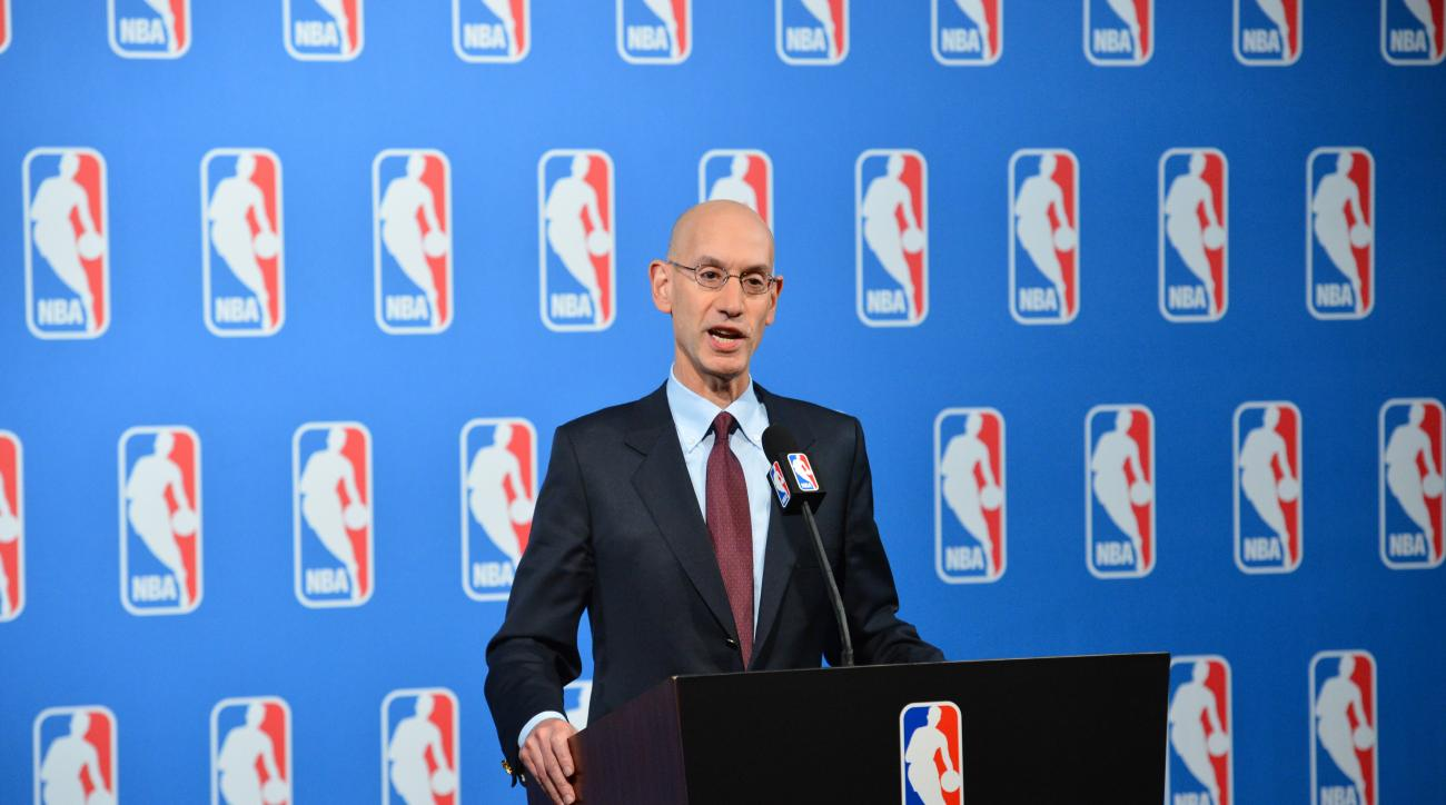 LAS VEGAS, NV - JULY 12: NBA Commissioner Adam Silver speaks to the media after the Board of Governors meetings on July 12, 2016 at the Encore Hotel in Las Vegas, Nevada. (Photo by David Dow/NBAE via Getty Images)