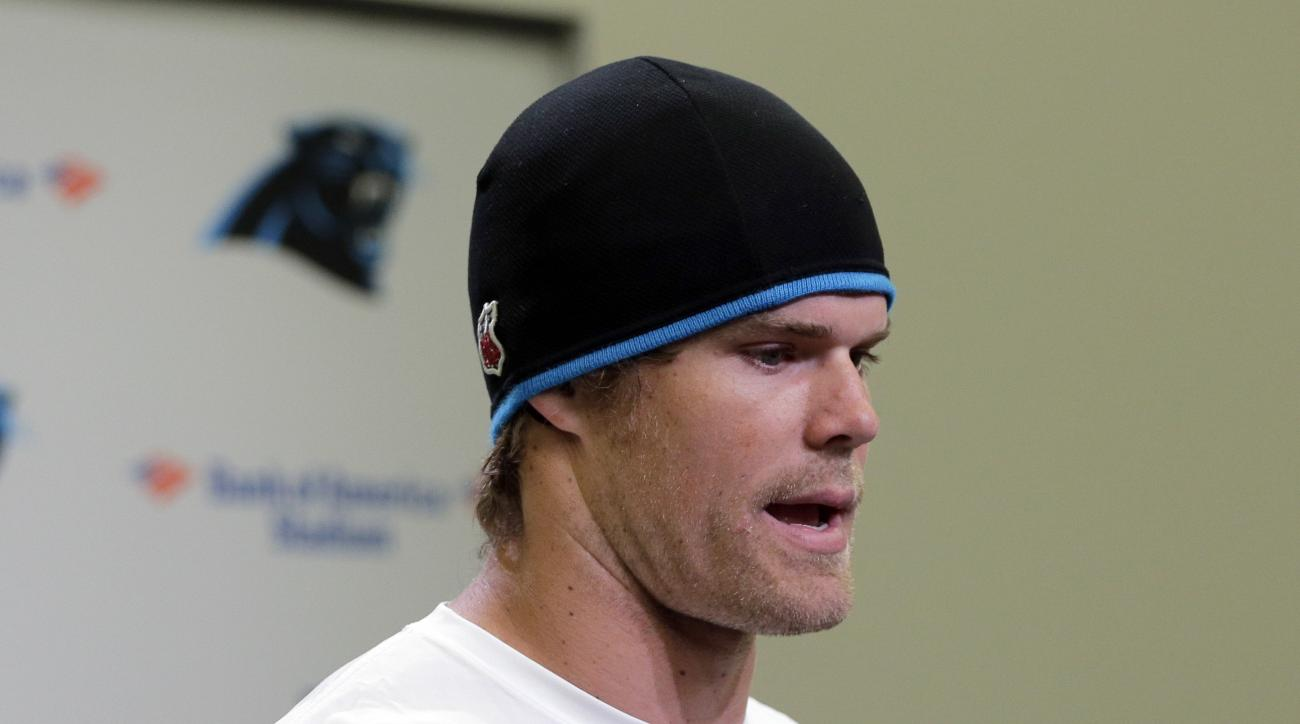 Carolina Panthers' Greg Olsen speaks to the media during the first day of their off season conditioning program, Monday, April 20, 2015, in Charlotte, N.C. (AP Photo/Chuck Burton)