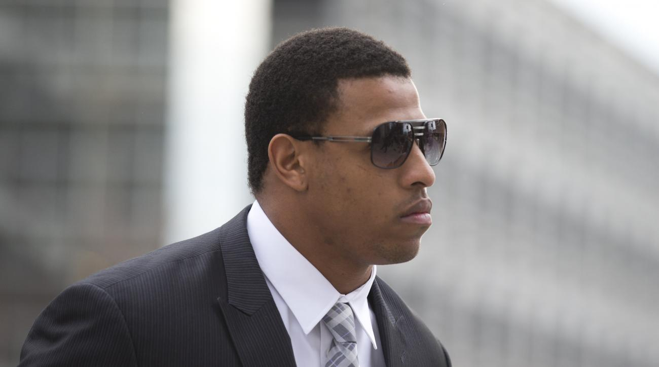 FILE - In this Feb. 9, 2015, file photo, Carolina Panthers' defensive end Greg Hardy arrives at the Mecklenburg County Courthouse on the first day of his domestic violence appeal trial in Charlotte, N.C. The NFL, on Wednesday, April 22, 2015, suspended Ha