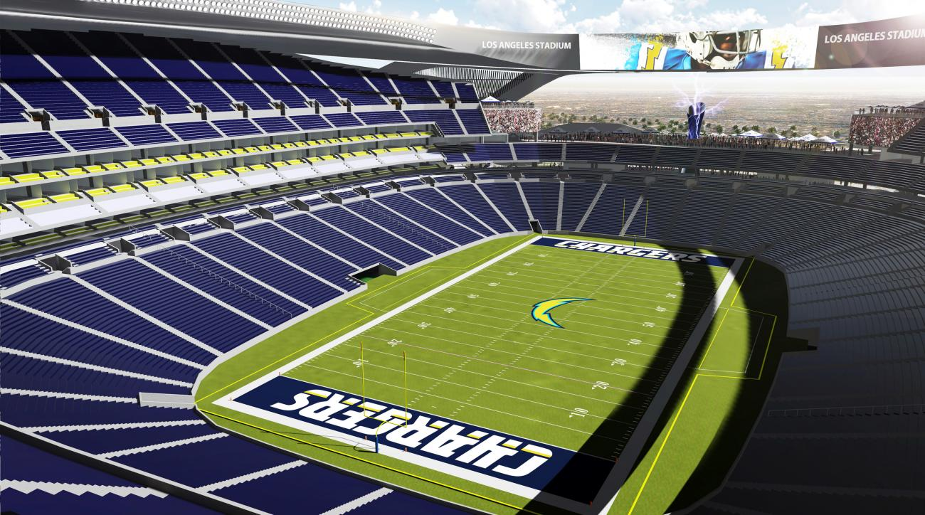 An artist's rendering provided by Carson2gether shows the interior a proposed stadium that would house both the Chargers and the Raiders NFL football teams in Carson, Calif. New designs for the proposed NFL stadium in the Los Angeles area include simulate