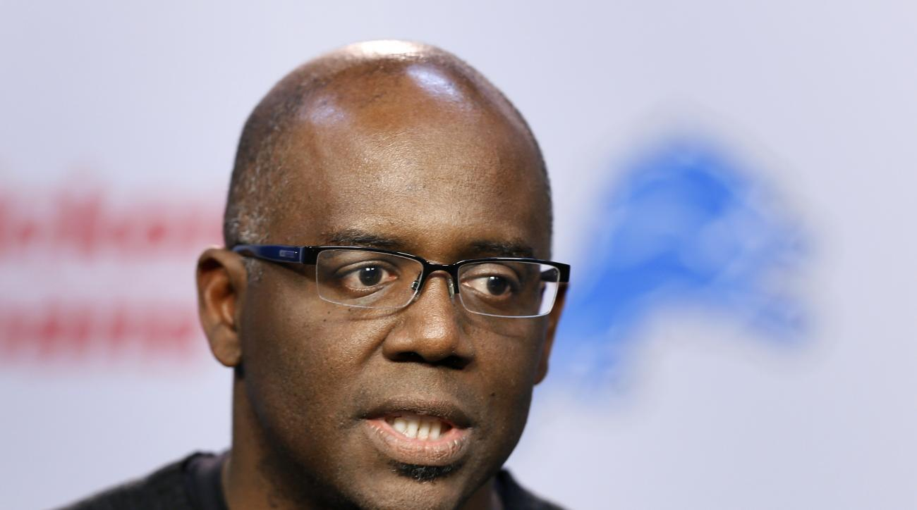 FILE - In this March 11, 2015, file photo, Detroit Lions general manager Martin Mayhew speaks during a news conference in Allen Park, Mich. The Lions, owners of the 23rd overall pick in next week's NFL draft, are putting the finishing touches on their pla