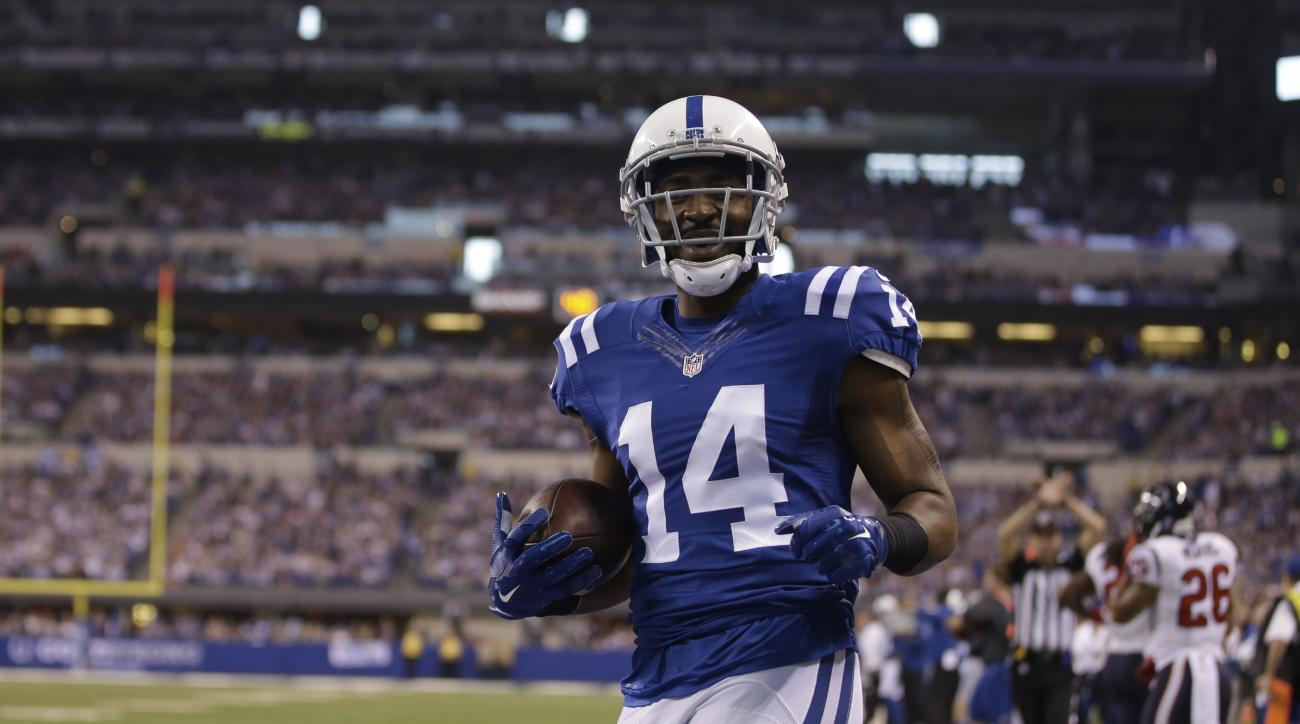 Indianapolis Colts wide receiver Hakeem Nicks after a catch against the Houston Texans during the first half of an NFL football game in Indianapolis, Sunday, Dec. 14, 2014. (AP Photo/Darron Cummings)