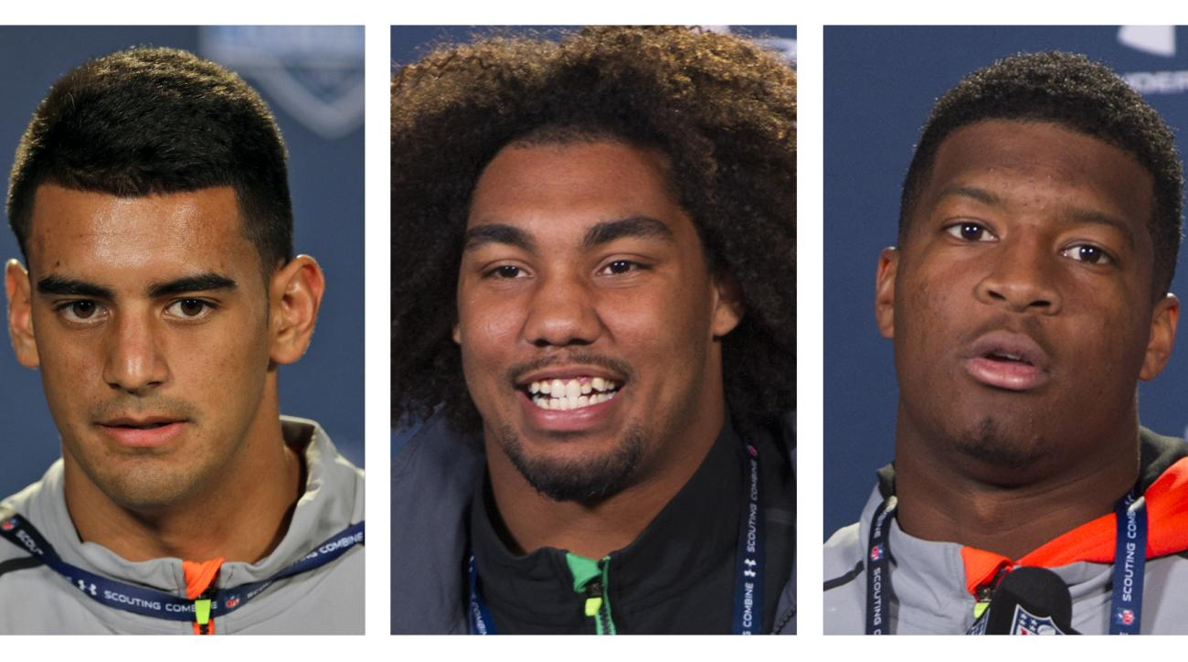 FILE - From left are 2015, file photos showing Marcus Mariota, Leonard Williams and Jameis Winston. The NFL draft heads to Chicago this week, and the AP's mock draft sees it this way: No. 1 Jameis Winston to Tampa Bay, followed by Marcus Mariota to Tennes