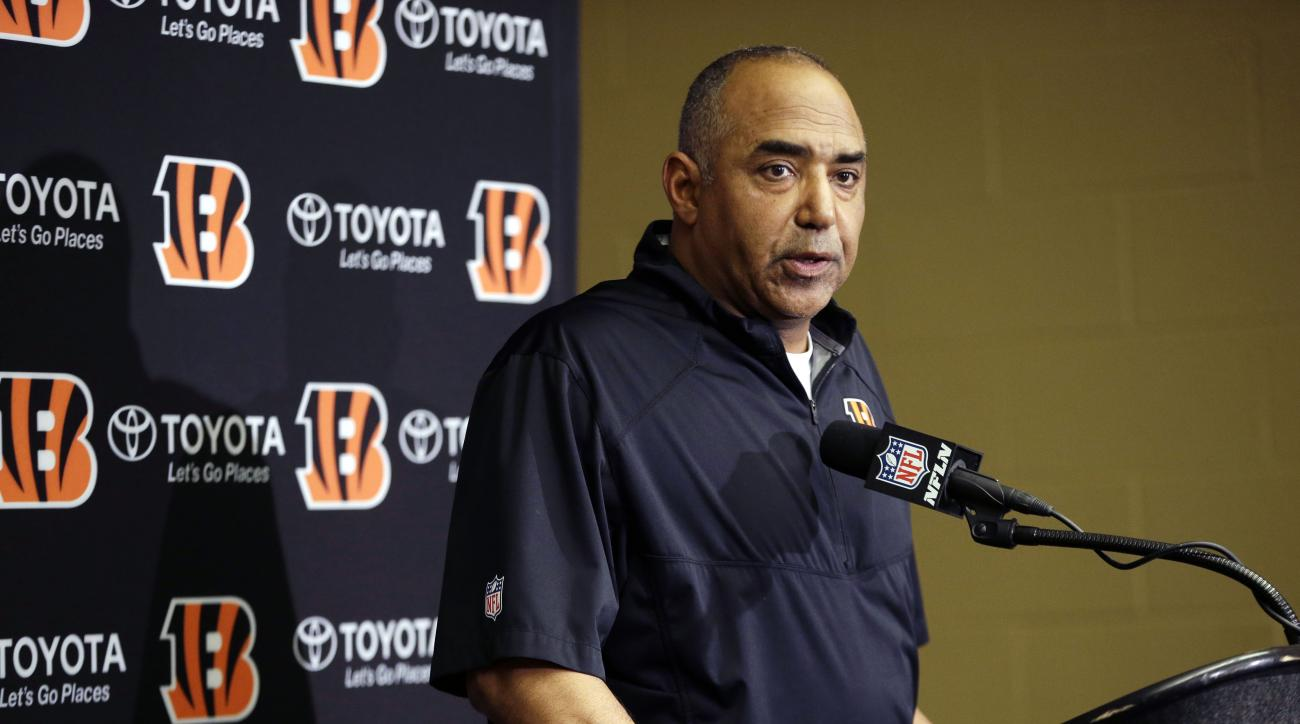 FILE - In this Jan. 4, 2014, file photo, Cincinnati Bengals head coach Marvin Lewis speaks at a news conference following an NFL wildcard playoff football game against the Indianapolis Colts in Indianapolis. The Bengals are entering what amounts to a pivo