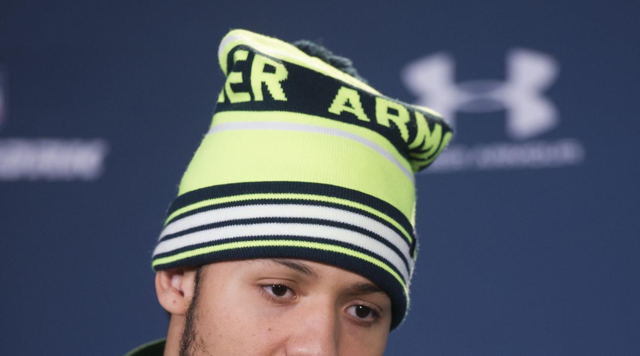 Missouri defensive lineman Shane Ray talks with reporters during a news conference at the NFL football scouting combine at Lucas Oil Stadium in Indianapolis, Saturday, Feb. 21, 2015. (AP Photo/Doug McSchooler)
