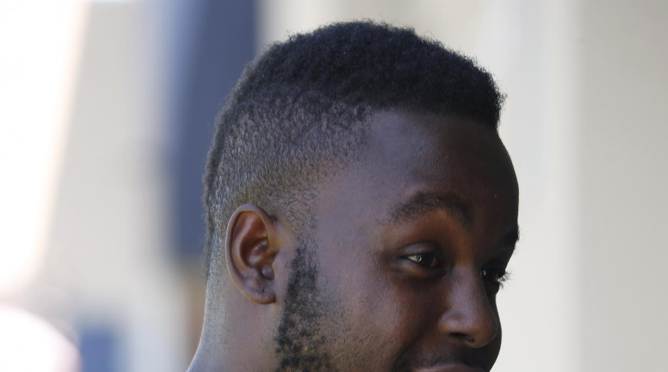 Denver Broncos running back Montee Ball chats with a reporter following the conclusion of the second day of the NFL football team's two-day voluntary veterans minicamp Wednesday, April 29, 2015, in Englewood, Colo. (AP Photo/David Zalubowski)